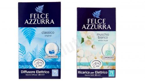 Zestaw Felce Azzurra Classico, Białe piżmo - elektryczny odświeżacz powietrza + uzupełnienie