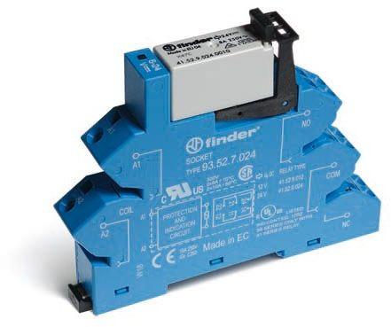 Przekaźnikowy moduł sprzęgający Finder 38.62.7.048.0050 Moduł sprzęgający, przełączne 2CO (DPDT) 8 A AgNi 48 V DC wykonanie czułe, tylko dla (6, 12, 24, 48, 60V) Finder 38.62.7.048.0050