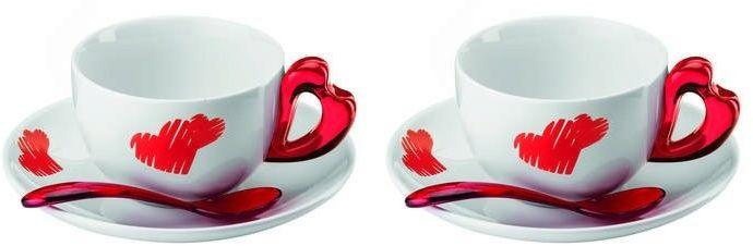 Guzzini - love - kpl. 2 filiżanek do cappuccino, czerwony