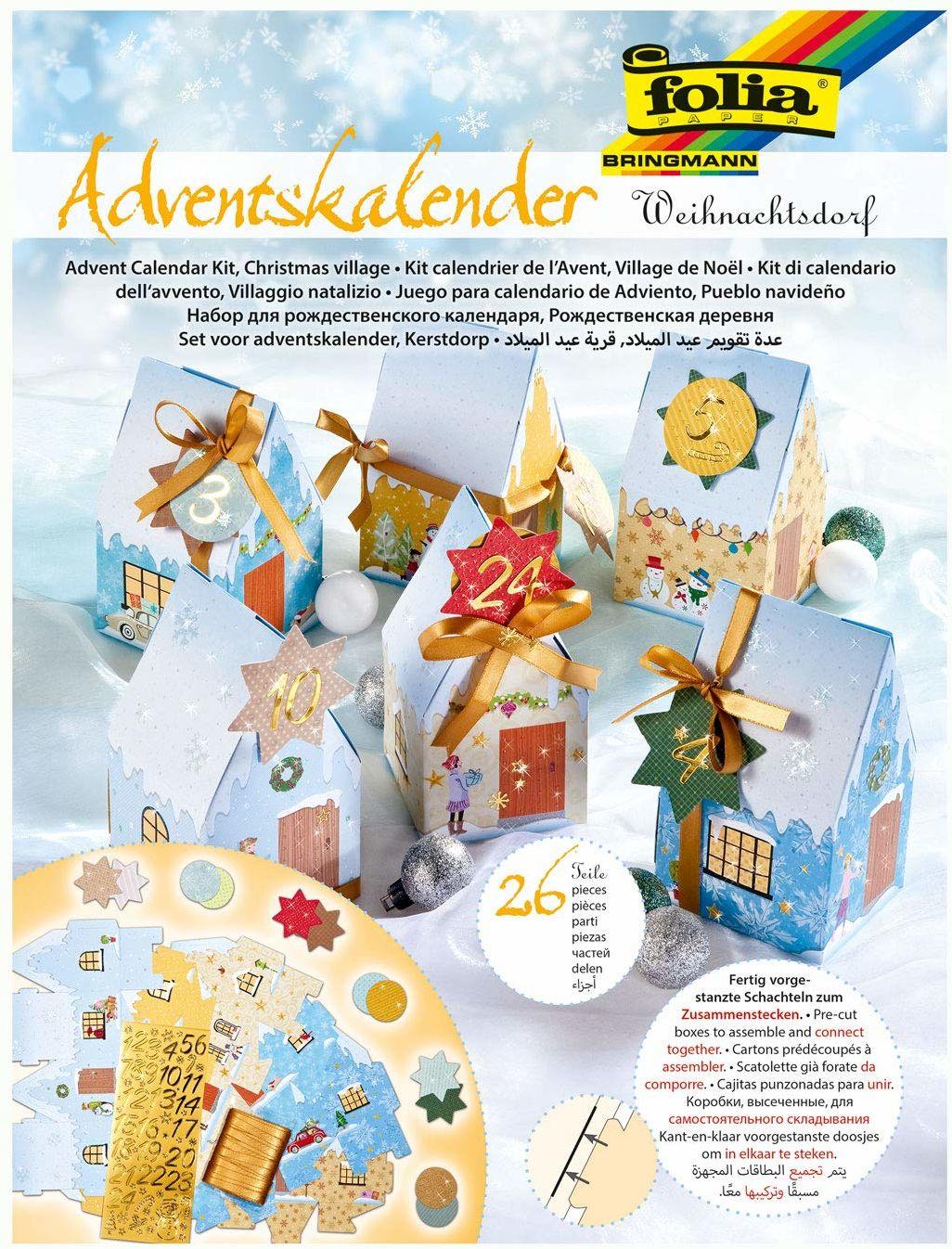 folia 9391  kalendarz adwentowy wioska bożonarodzeniowa, wstępnie wytłoczone pudełka w postaci 24 domków do złożenia, z brokatowymi aplikacjami, idealny na małe prezenty na adwent