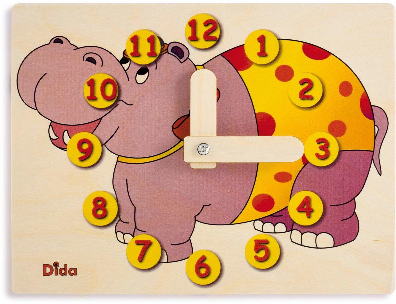 Dida - Zegarek do nauki dla dzieci - hipopotam - ręczny zegarek do nauki odczytywania godziny.