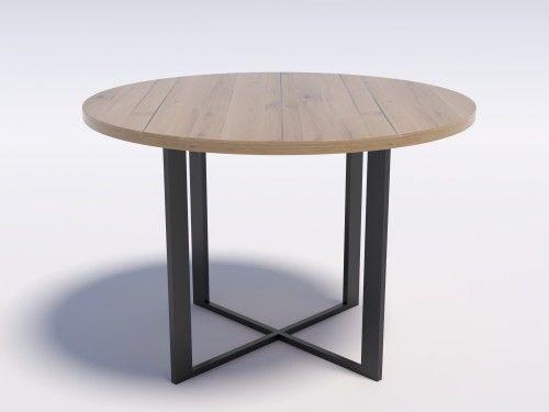 Stół z dębowym blatem okrągły RING 6 110 Dąb lity rustykalny