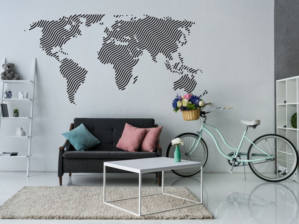 naklejka na ścianę Mapa świata fale naklejka na ścianę