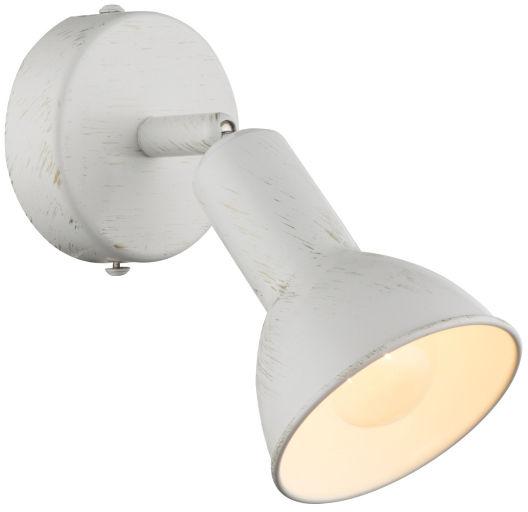 Globo CALDERA 54648-1 kinkiet lampa ścienna biała złota przecierka spot 1xE14 40W 15cm