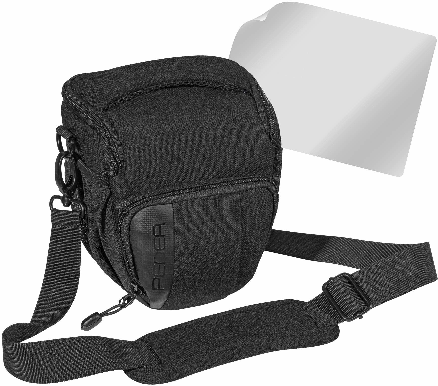 """PEDEA DSLR torba na aparat """"Fashion"""" z folią ochronną na wyświetlacz do Canon EOS 5D Mark II 400D 2000D / Nikon D60 D80 D90 D3100 D3200 D3300 D3400 D5300 D7100 / Pentax K 50 K 500, rozm. M czarny"""
