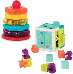 Battat BT2631Z pierścienie do układania w stos i kostka, zabawki do nauki dla dzieci