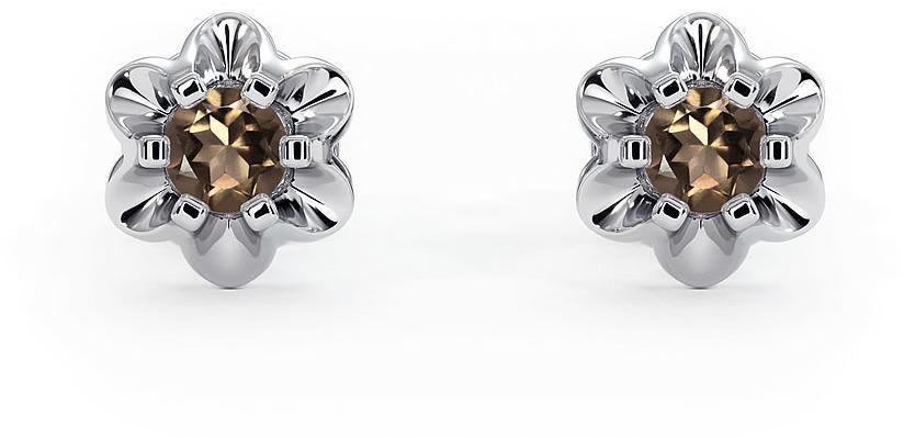 Kuźnia Srebra - Kolczyki srebrne, 7mm, Kwarc Dymny, 2g, model