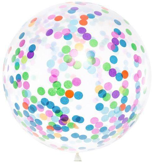 Balon gigant z okrągłym kolorowym konfetti 100cm 1 sztuka BK36-1-000