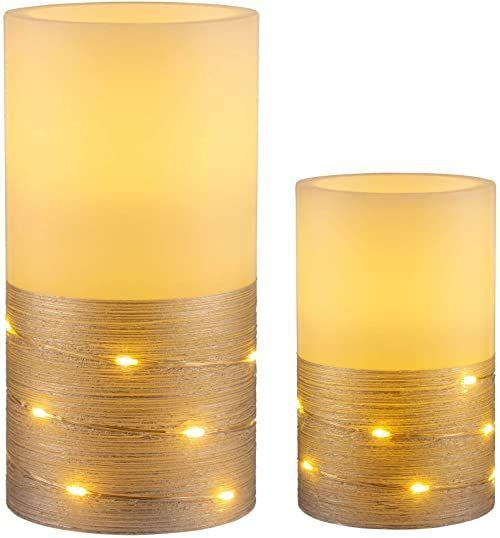 Pauleen 48120 Fairy Lights Candle świeca woskowa z baterią z funkcją timera 6H timer świeca LED, zestaw 2 sztuk, kolor biały, srebrny