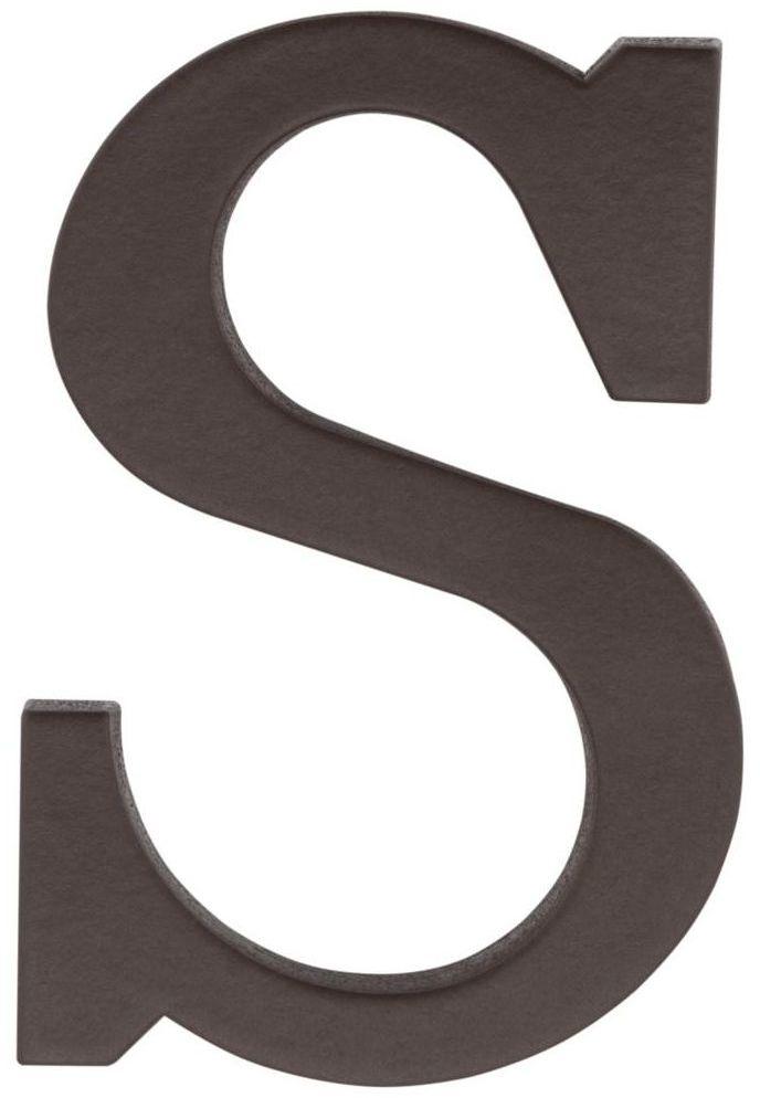 Litera S wys. 9 cm PVC brązowa