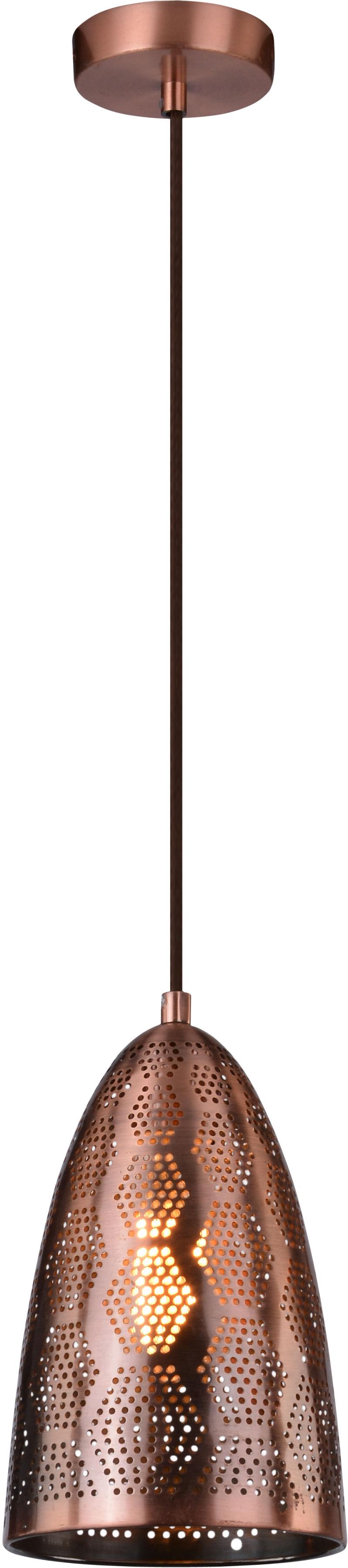 Candellux SFINKS 31-43313 lampa wisząca 1X60W E27 metalowy klosz stożek i ażurowy dekor miedziany 20 cm