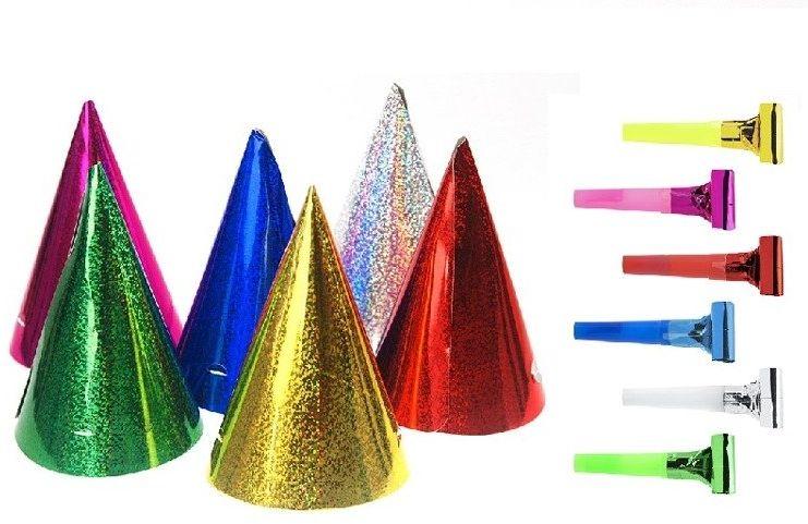 Czapeczki i gwizdki urodzinowe holograficzne kolorowe zestaw XXL 20el. zes-IMPR4