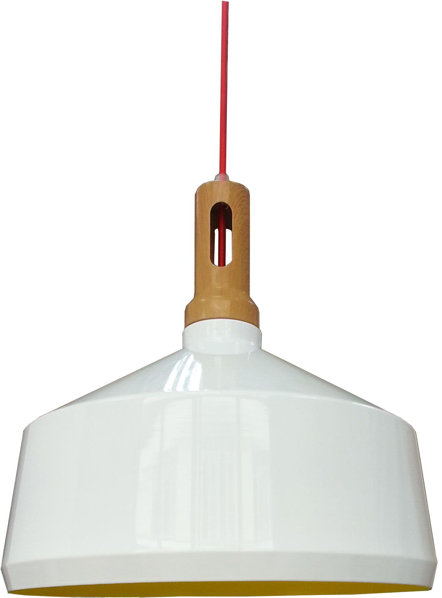 Candellux ROBINSON 31-37688 lampa wisząca aluminiowy klosz biały wnętrze żółte imitacja drewna 1X60W E27 36cm
