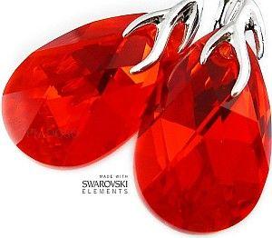Kryształy piękne ozdobne czerwone kolczyki SREBRO