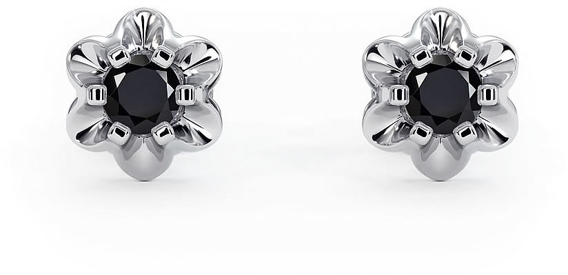Kuźnia Srebra - Kolczyki srebrne, 7mm, Czarny Onyks, 2g, model