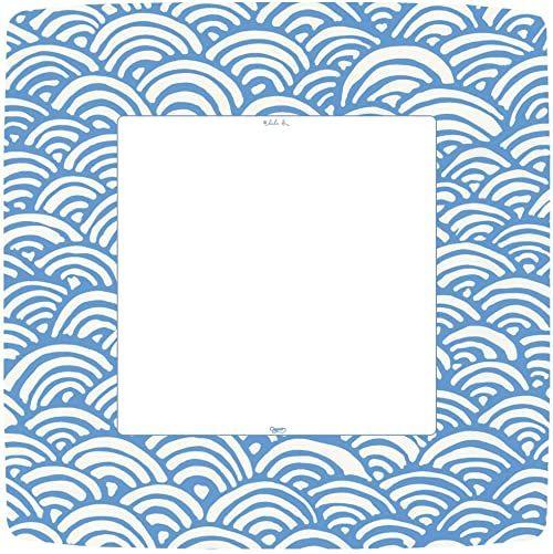 Caspari Lulu''s tęczowe kwadratowe papierowe talerze obiadowe, opakowanie 8 sztuk, niebieskie