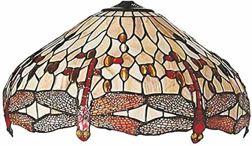 Lumilamp 5LL-1102 Tiffany styl Dragonfly ważka abażur beżowy naturalny Ø 49 * 28 cm ręcznie wykonany szklany abażur dekoracyjny kolorowe szkło retro styl antyk