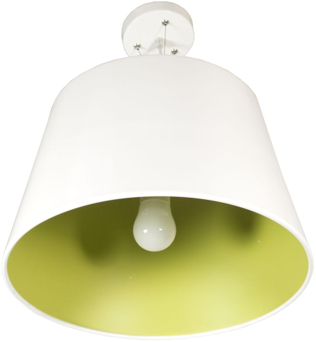 Candellux ENYO 31-27620 lampa wisząca metalowy klosz biały wnętrze zielone 1X60W E27 40cm