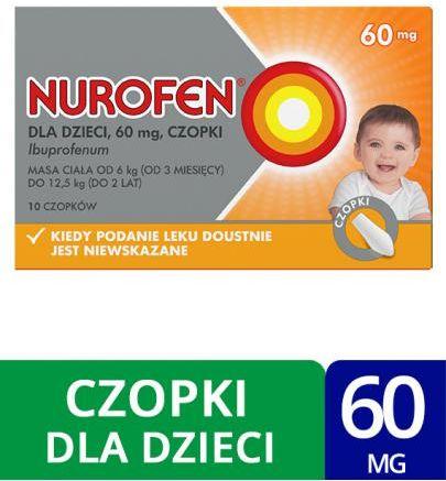 Nurofen 60mg dla dzieci 10 czopków