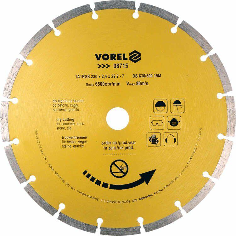 Tarcza diamentowa 230 mm segmentowa Vorel 08715 - ZYSKAJ RABAT 30 ZŁ