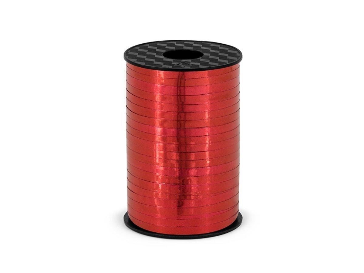 Wstążka ozdobna do balonów - metaliczna - czerwona - 225 m