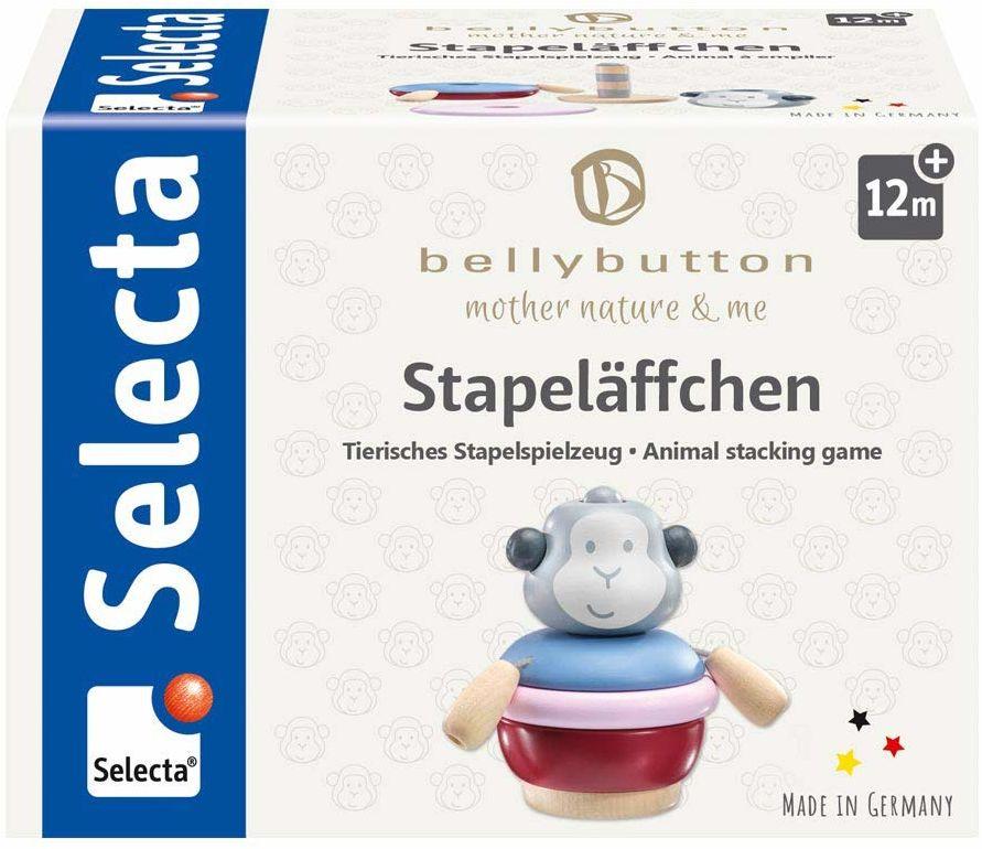 Selecta 64026 Stapeläffchen, drewniana zabawka do układania, 9 cm