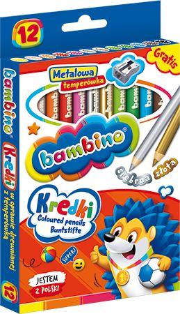 Kredki ołówkowe 12 kolorów w drewnianej oprawie BAMBINO 249