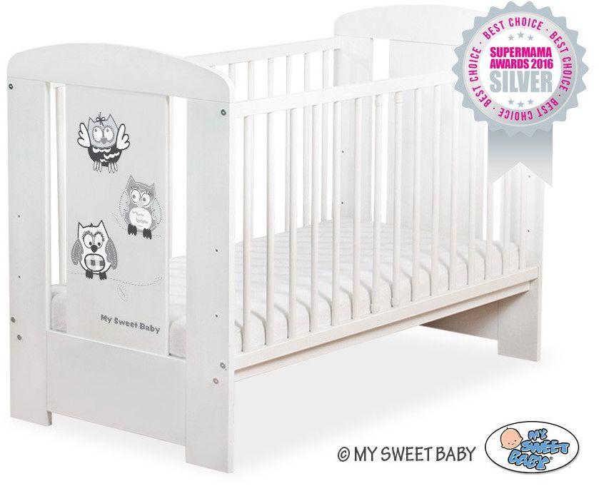 Łóżeczko drewniane Szare sowy, 5010707430-My Sweet Baby