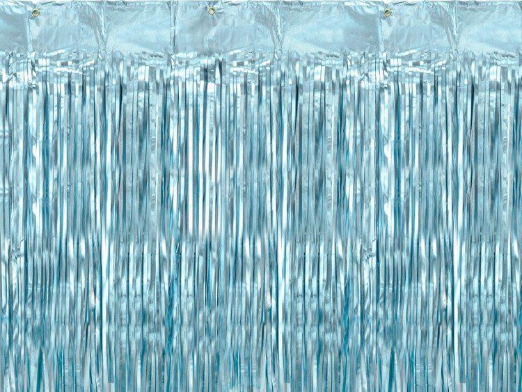 Kurtyna Party niebieska metalizowana 90 x 250 cm 1szt CRT-001ME