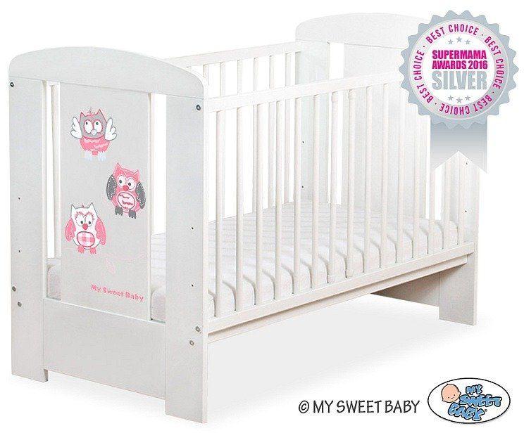 Łóżeczko drewniane Różowe sowy, 5010707426-My Sweet Baby