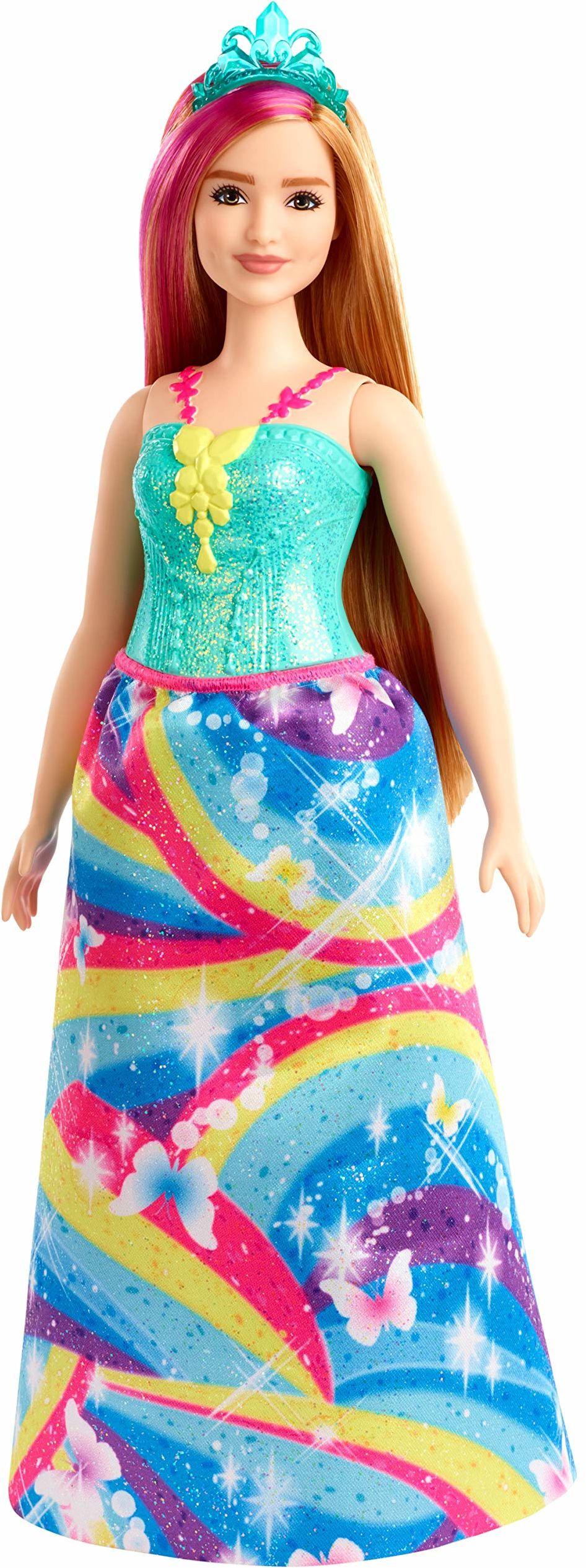 Barbie GJK16 , Dreamtopia Lalka Księżniczka (30 Cm) O Krągłych Kształtach, Włosy Truskawkowy Blond Z Różowym Kosmykiem Gjk16 ,wielokolorowa