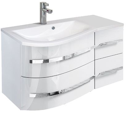Oristo Opal szafka z umywalką lewa 90x50x44cm biały połysk OR30-SD4S-90-1-L/UME-OP-90-92-L