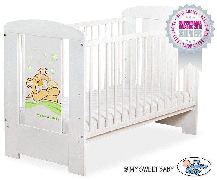 Łóżeczko drewniane Miś Barnaba w zieleni, 500507802-My Sweet Baby