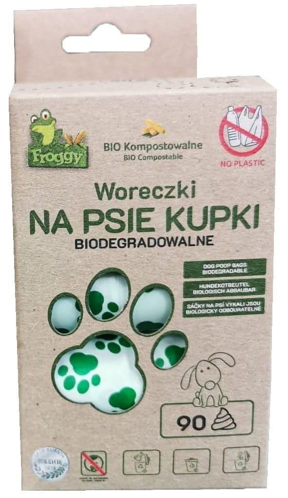 Worki na psie odchody (kompostowalne i biodegradowalne) 6 rolek 90 szt - froggy
