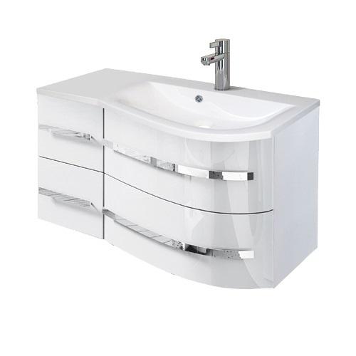 Oristo Opal szafka z umywalką prawa 90x50x44cm biały połysk OR30-SD4S-90-1-P/UME-OP-90-92-P