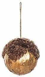 EUROCINSA Ref.28260 zawieszka w kształcie kuli z polistyrenu z pomarańczowymi liśćmi i błyszczącymi szyszkami, 15 Ø cm 4 sztuki, złota, 15 cm
