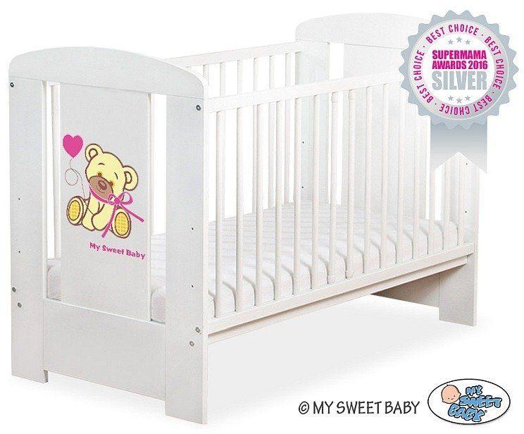 Łóżeczko drewniane Miś Barnaba z różowa kokardką, 500407324-My Sweet Baby