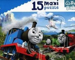 Puzzle dla dzieci Trefl 15 MAXI - Pędzące lokomotywy, Speeding locomotives