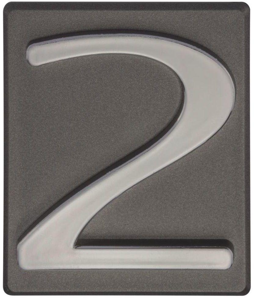 Cyfra 2 wys. 5 cm PVC grafitowa