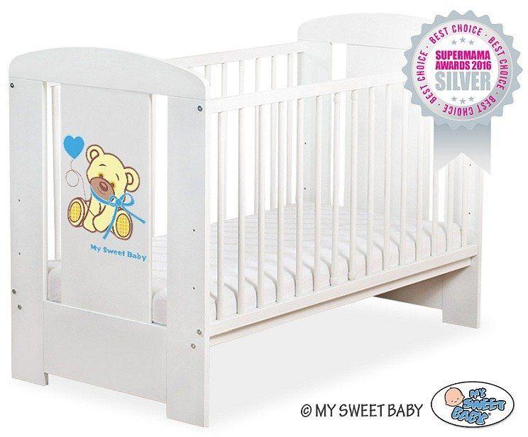 Łóżeczko drewniane Miś Barnaba z niebieską kokardką, 500407323-My Sweet Baby