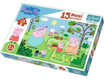 Puzzle dla dzieci Trefl 15 MAXI - Peppa w ogrodzie, Peppa in the garden