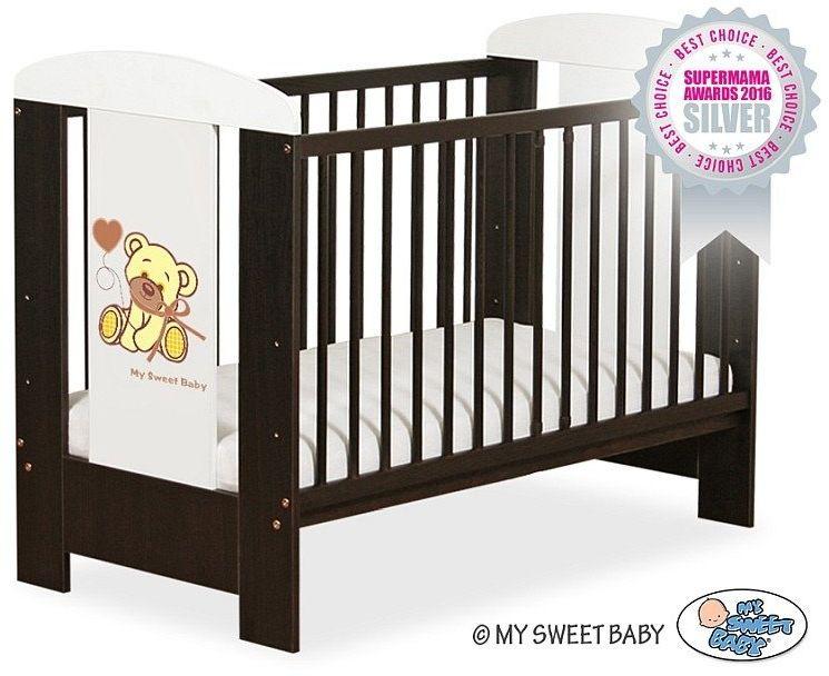Łóżeczko drewniane Miś z brązową kokardką, 500404326-My Sweet Baby