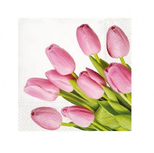 Serwetki papierowe Wiosenne Tulipany, różowe