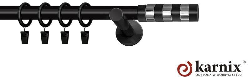 Karnisze nowoczesne NEO pojedynczy 19mm Etiuda czarny