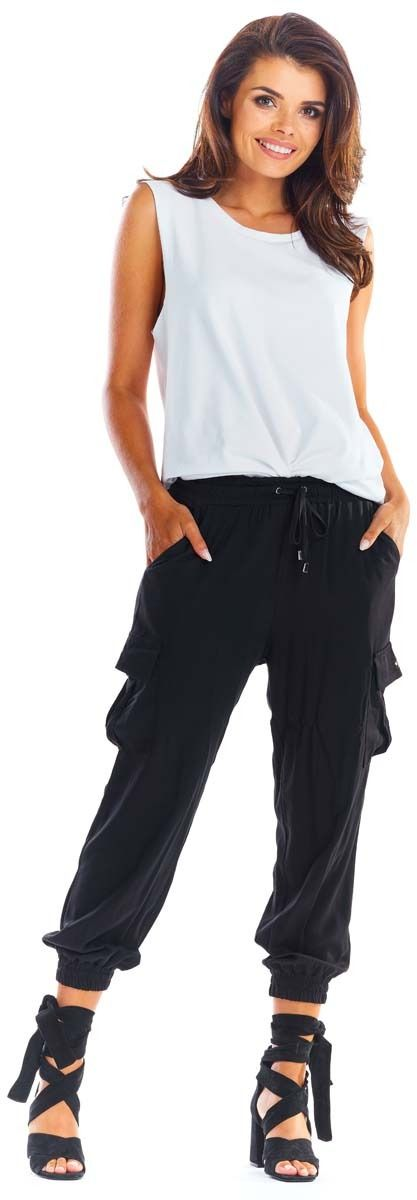 Czarne wygodne spodnie cargo -joggery