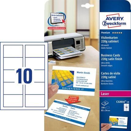 AVERY - Wizytówki Quick&Clean; 85 x 54 mm, 100 szt., 220 g, satynowane, śnieżnobiałe - C32016-10