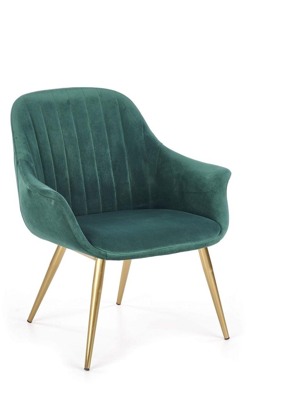 Fotel ELEGANCE 2 tapicerka - ciemny zielony, nogi - złote Halmar