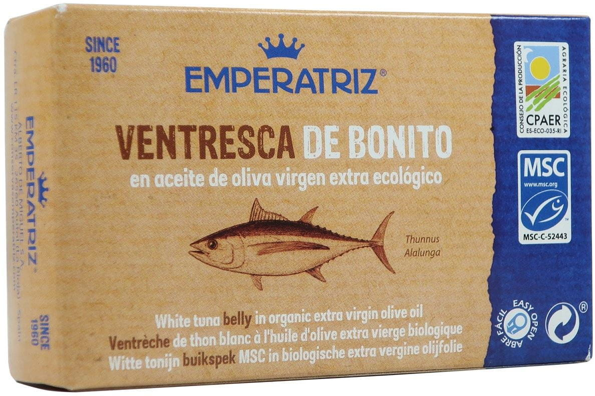 Tuńczyk biały filety brzuszne (ventresca) w bio oliwie z oliwek extra virgin 115 g (80 g) - emperatriz