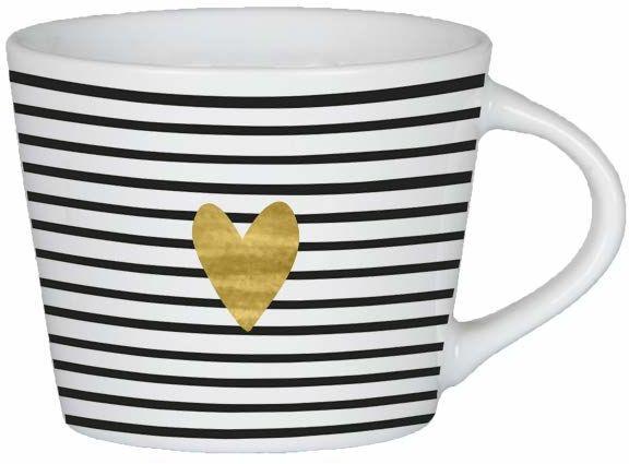 Grafik Werkstatt 60891 Espresso prawdziwe złoto porcelanowy kubek 50 ml serce złoty