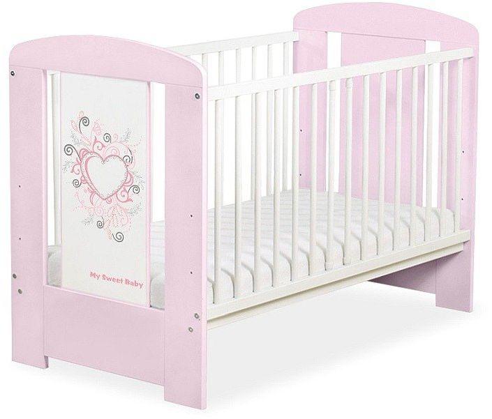 Łóżeczko drewniane Różowe serduszko, 5010083-My Sweet Baby